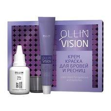 Крем-краска для бровей и ресниц (черный) в наборе - Ollin Professional Vision Set Color Cream For Eyebrows And Eyelashes (Black) 20 мл+20мл